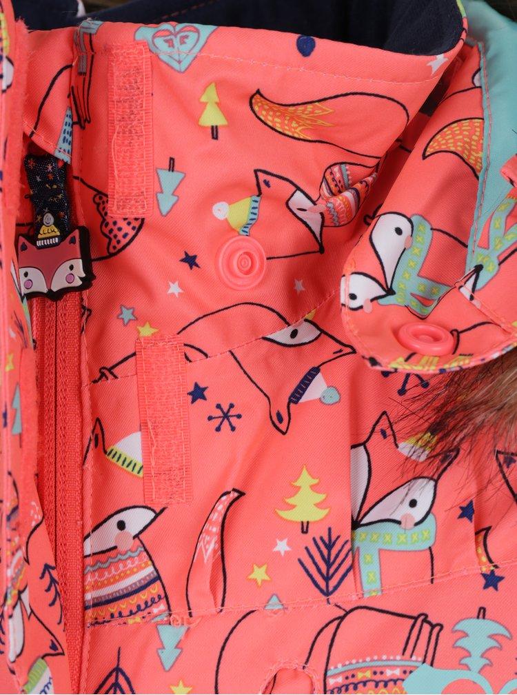 Neonově oranžovo-modrá holčičí oteplovací kombinéza Roxy Paradise