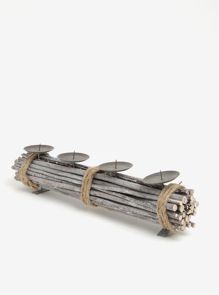 Suport gri din lemn pentru 4 lumanari Dakls