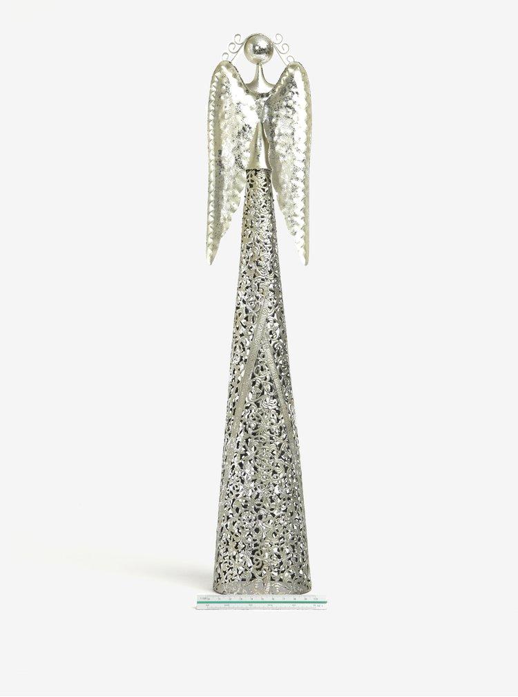 Inger decorativ argintiu mare din metal Dakls