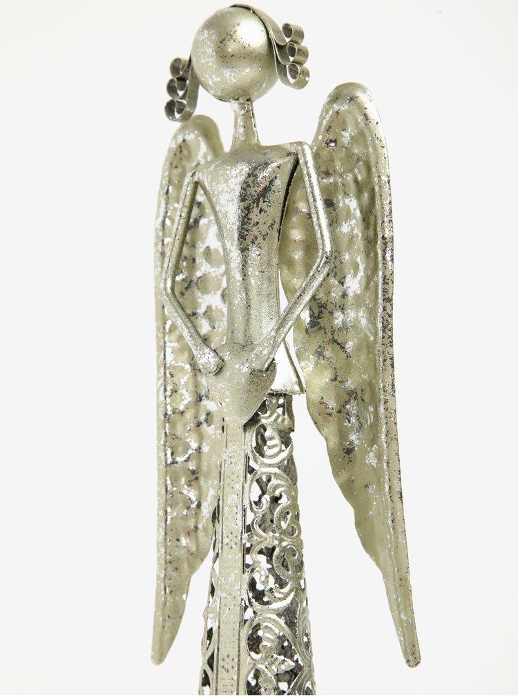 Kovový anděl se srdcem ve stříbrné barvě Dakls