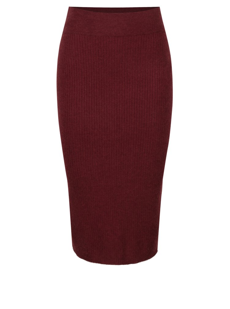Vínová žebrovaná sukně VERO MODA Hermosa