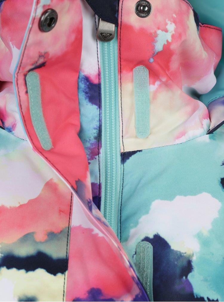 Růžovo-modrá holčičí vzorovaná voděodolná bunda s kapucí Roxy Jet Girl