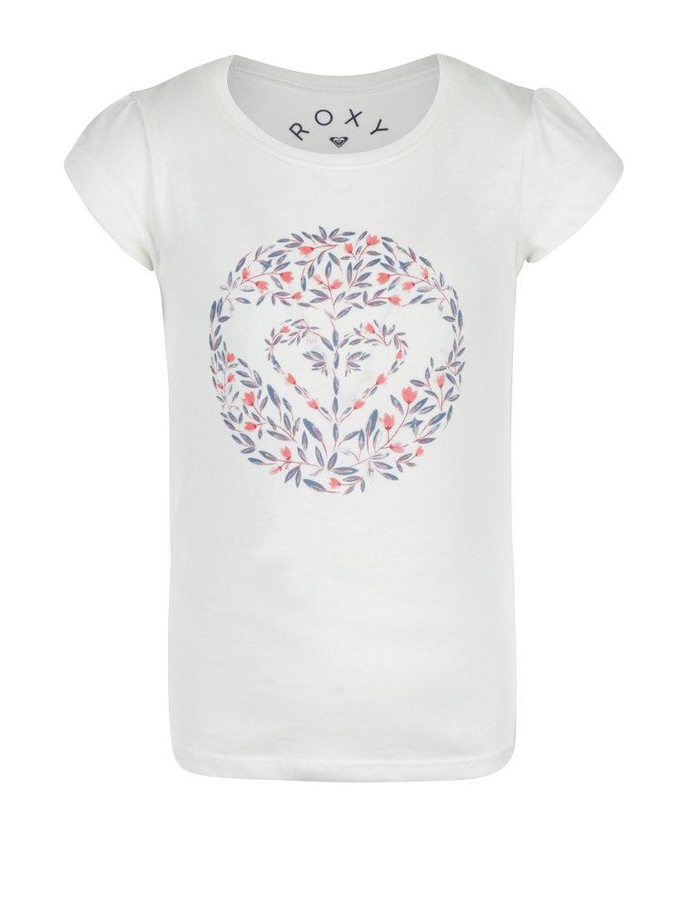 Krémové holčičí tričko s potiskem Roxy Rainor Or Shine
