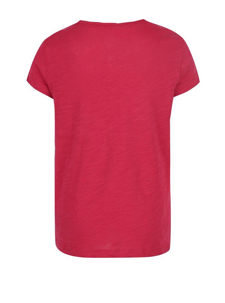 Tmavě růžové holčičí žíhané tričko s potiskem Roxy Floating Bubble
