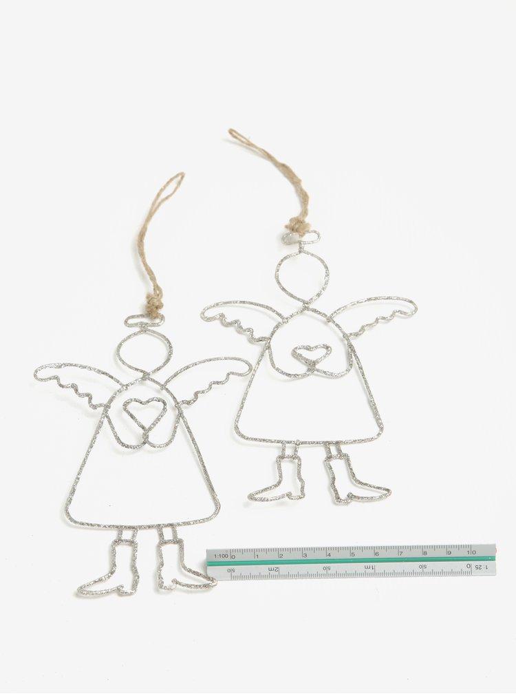 Set de 2 piese ornamentale de sarbatori in forma de inger Dakls