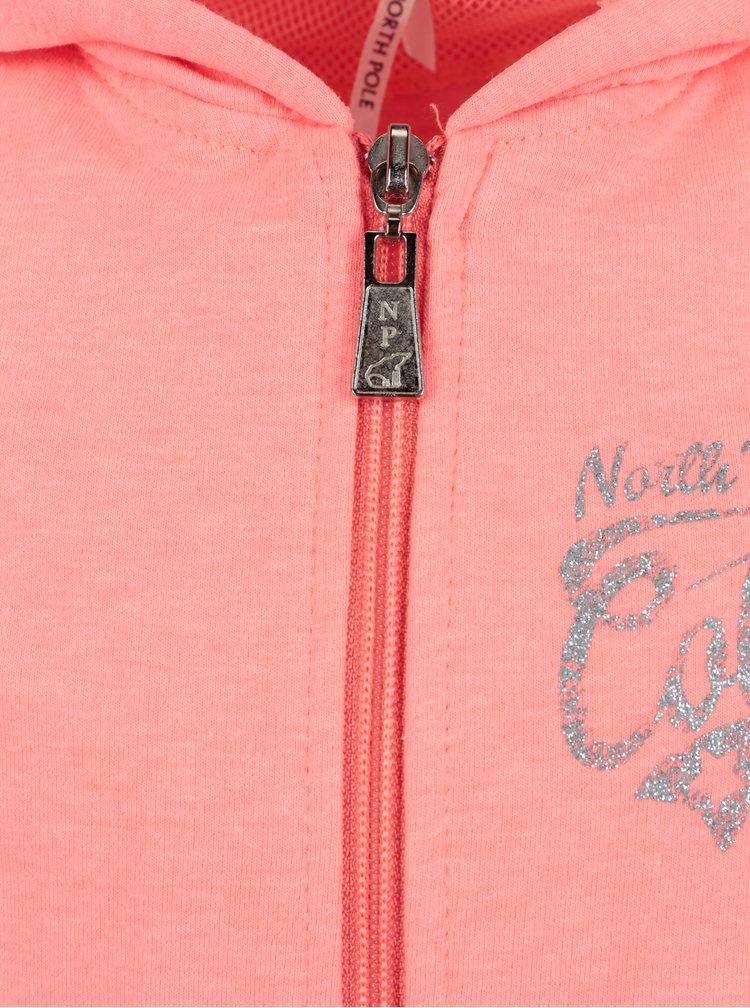 Neonově růžová holčičí mikina s kapucí a potiskem North Pole Kids