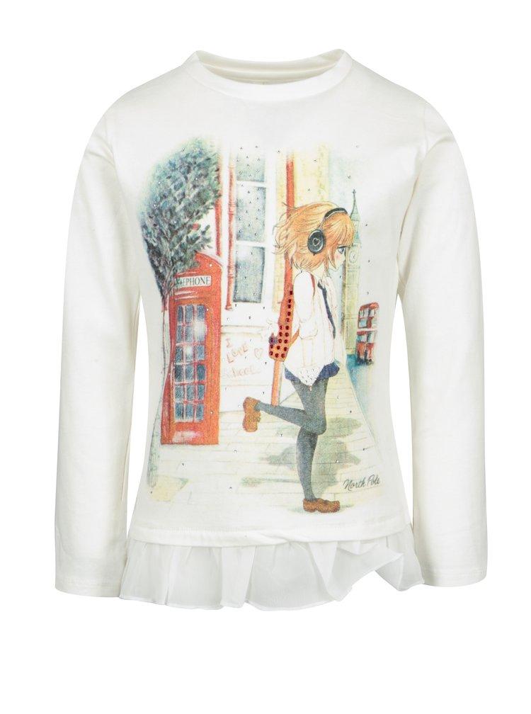 Krémové holčičí tričko s dlouhým rukávem North Pole Kids