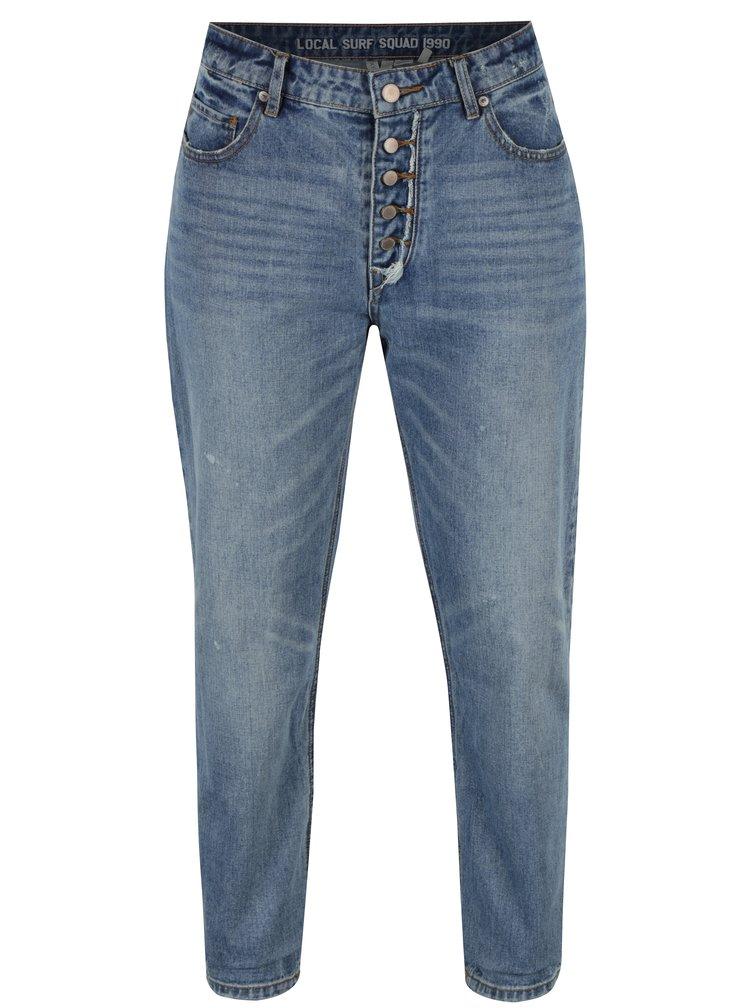 Modré dámské mom džíny s vyšisovaným efektem Roxy Feel Free