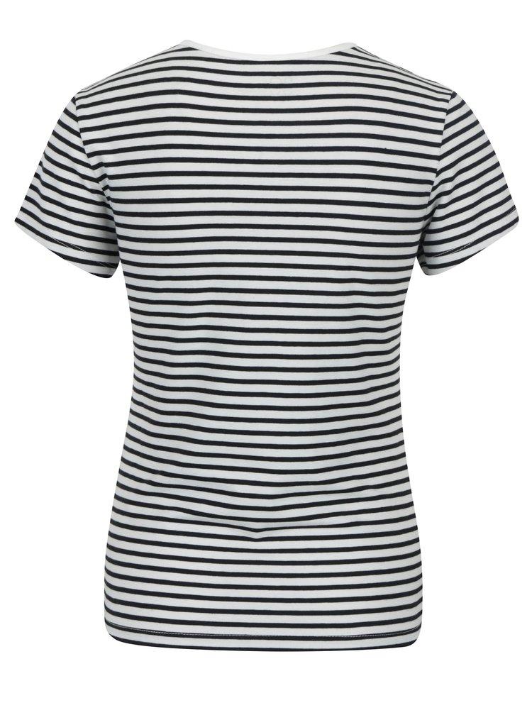 Černo-bílé dámské pruhované tričko s nášivkami Taffy Crab Patches