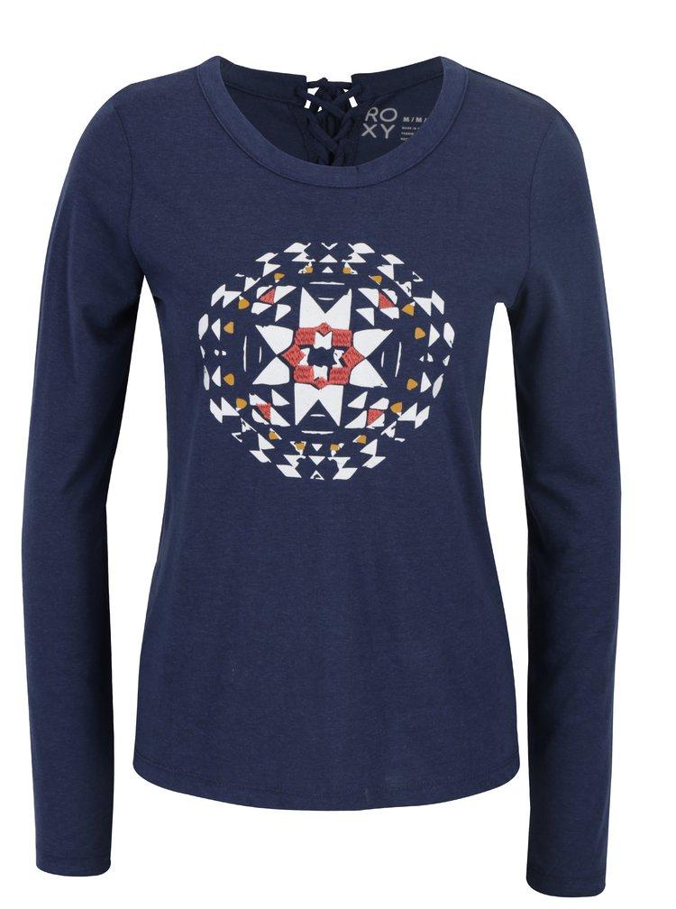 Tmavě modré dámské tričko s potiskem Roxy Lily Yucca