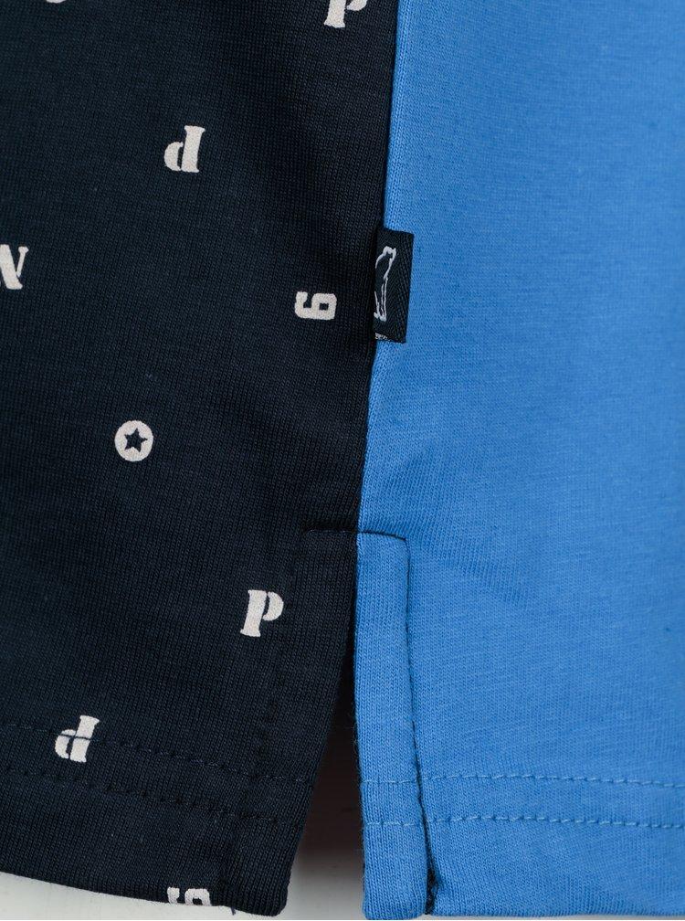 Modré pruhované klučičí polo tričko s dlouhým rukávem North Pole Kids