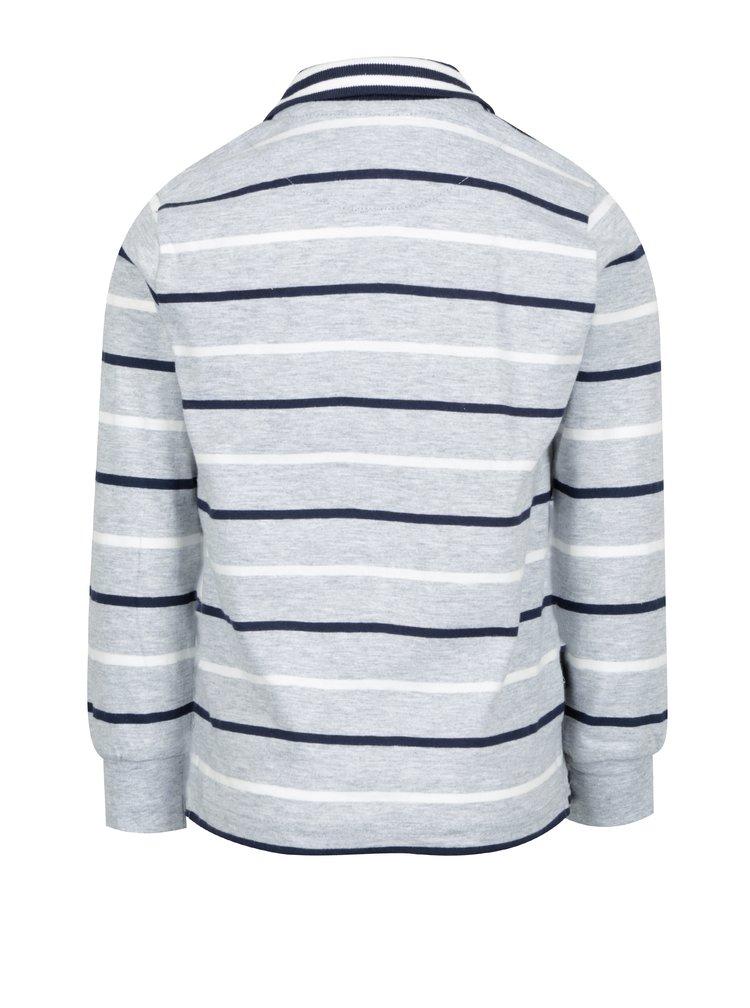 Šedé klučičí pruhované polo tričko s dlouhým rukávem North Pole Kids