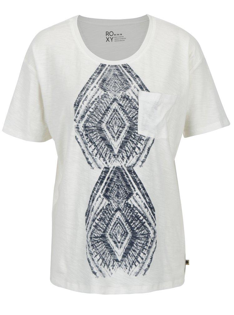 Krémové dámské žíhané tričko s potiskem Roxy Wild Chaman