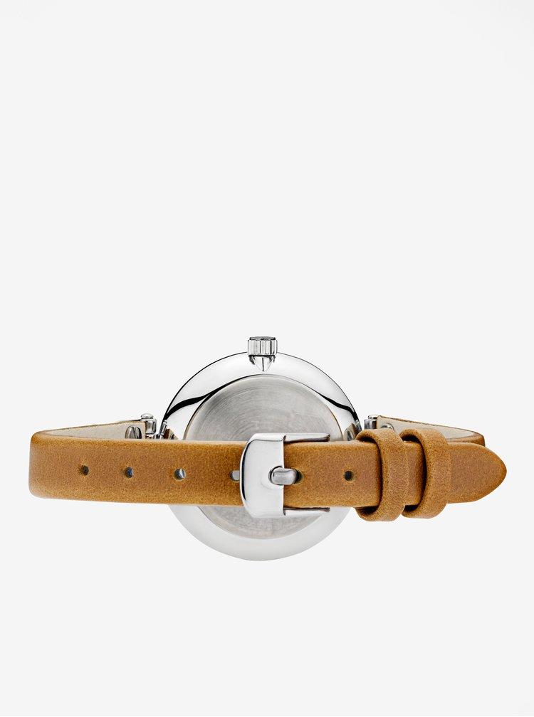 Dámské hodinky ve stříbrné barvě s hnědým koženým páskem MOCKBERG Wera petite
