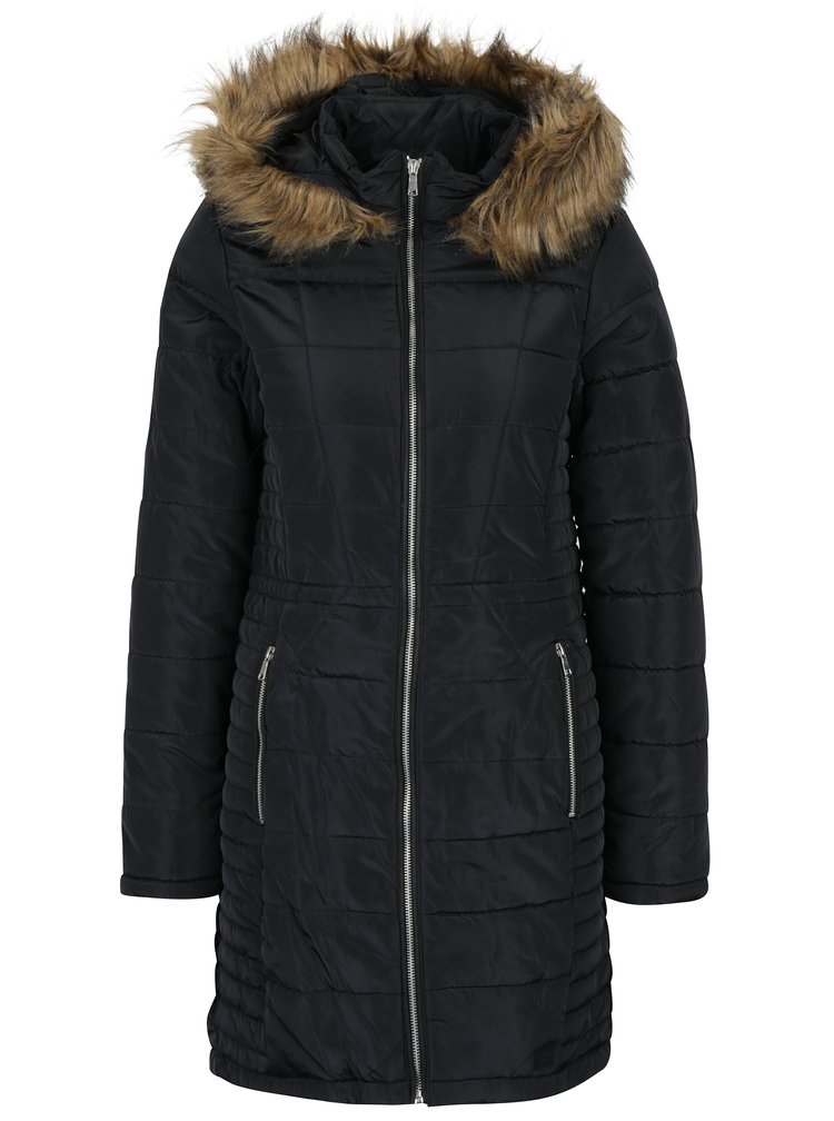 Černý prošívaný kabát s umělou kožešinou VERO MODA Fast