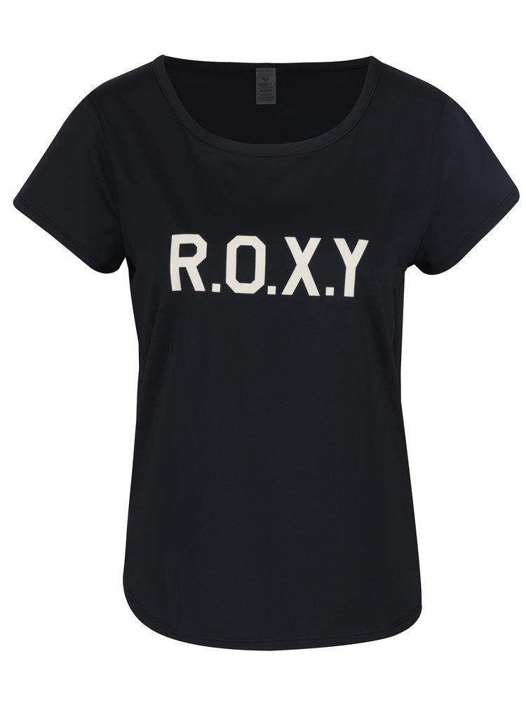 Tricou negru cu logo pentru femei - Roxy Shiny Way
