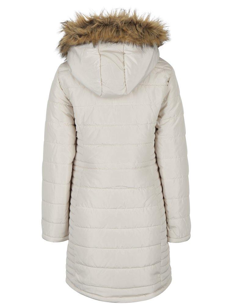 Krémový prošívaný kabát s umělou kožešinou VERO MODA Fast