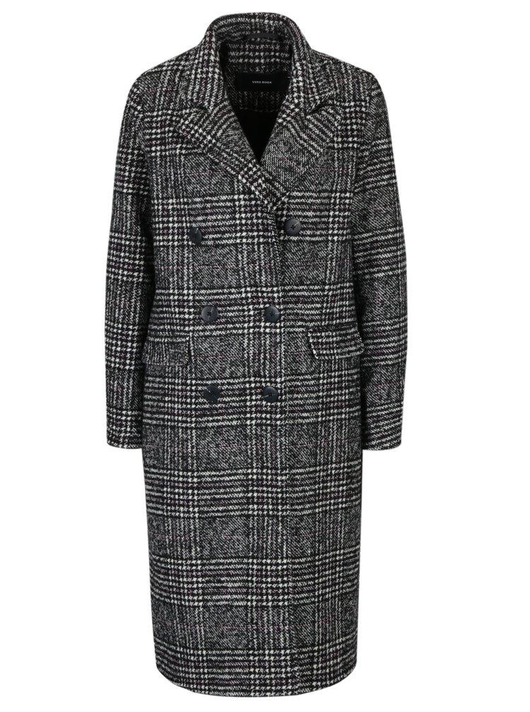 Černo-bílý károvaný kabát s příměsí vlny VERO MODA Highland
