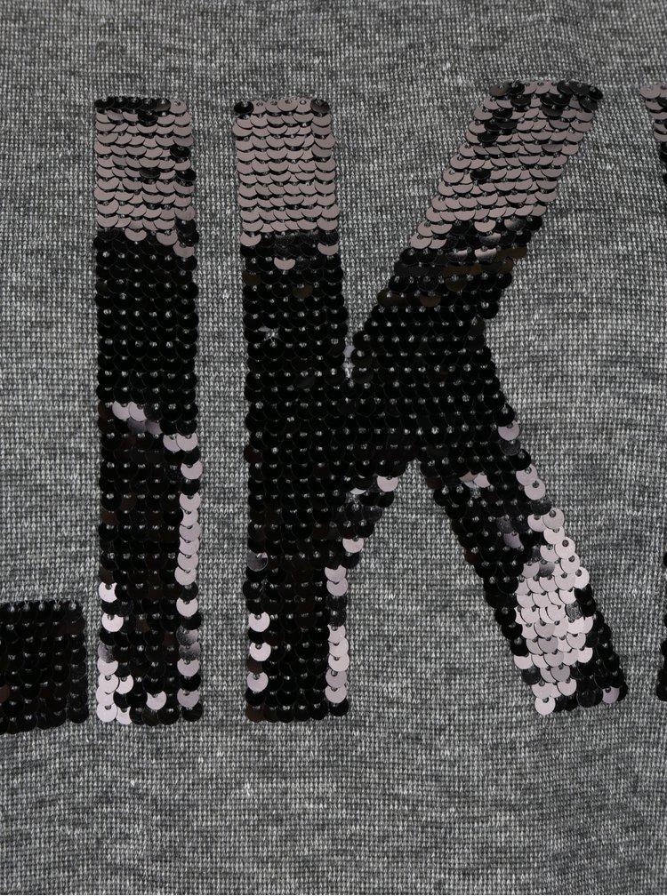 Tmavě šedá mikina s flitrovaným nápisem VERO MODA Didde