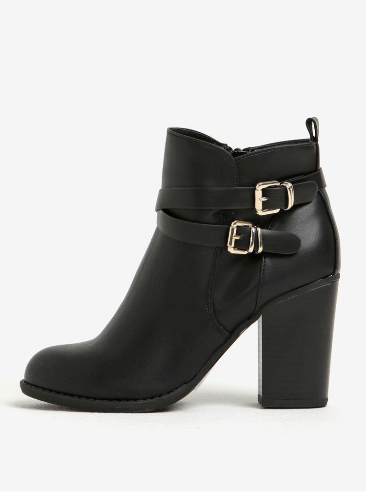 Černé kotníkové boty na podpatku s přezkami Dorothy Perkins