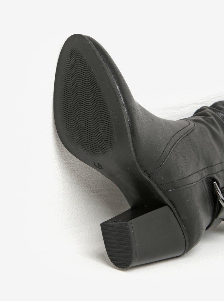 Černé nízké kozačky na podpatku s přezkami Dorothy Perkins