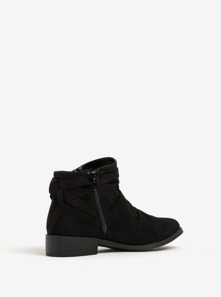 Černé kotníkové boty v semišové úpravě s mašlí Dorothy Perkins