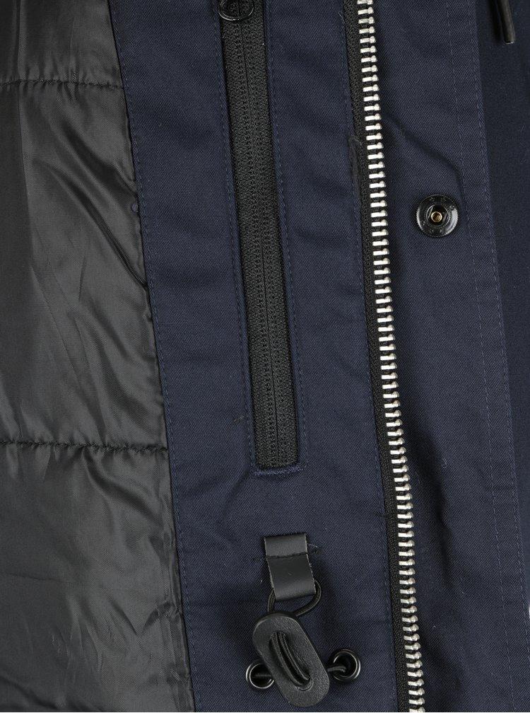 Tmavě modrá zimní parka s kapucí SUIT Ron