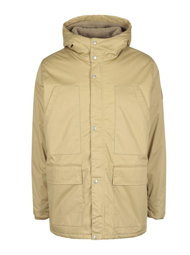 Béžová pánská bunda s kapucí Makia Field