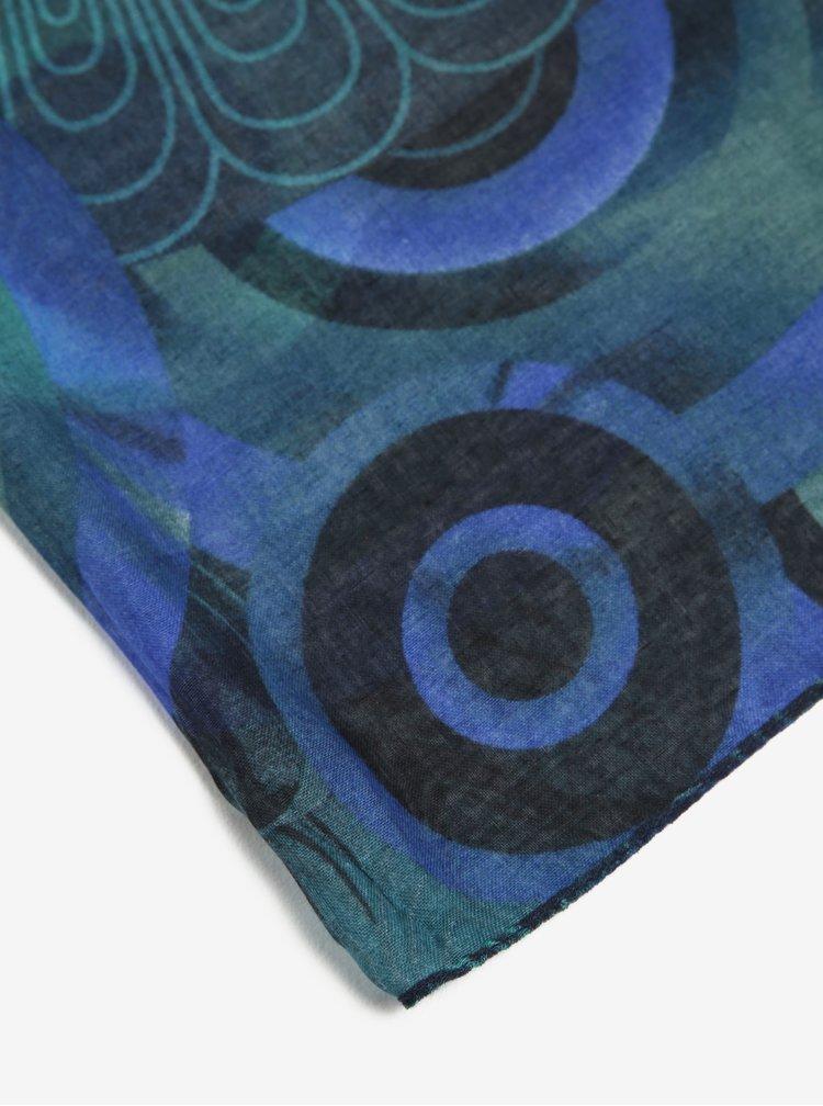 Esarfa albastra cu model floral - Desigual Enrien