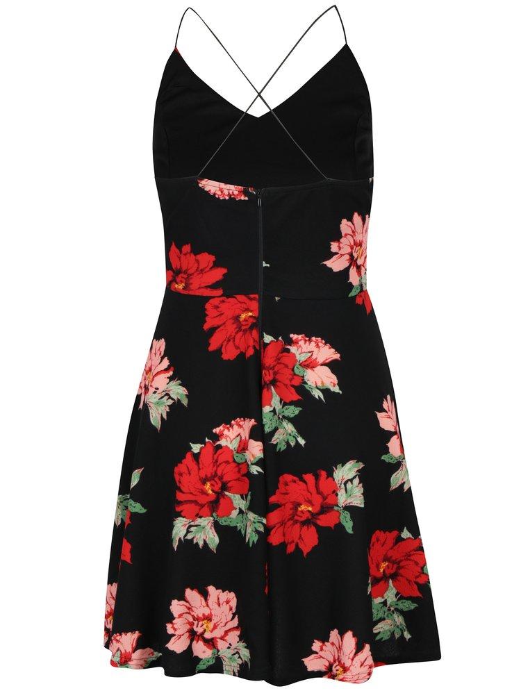 Černé květované šaty na tenká ramínka AX Paris