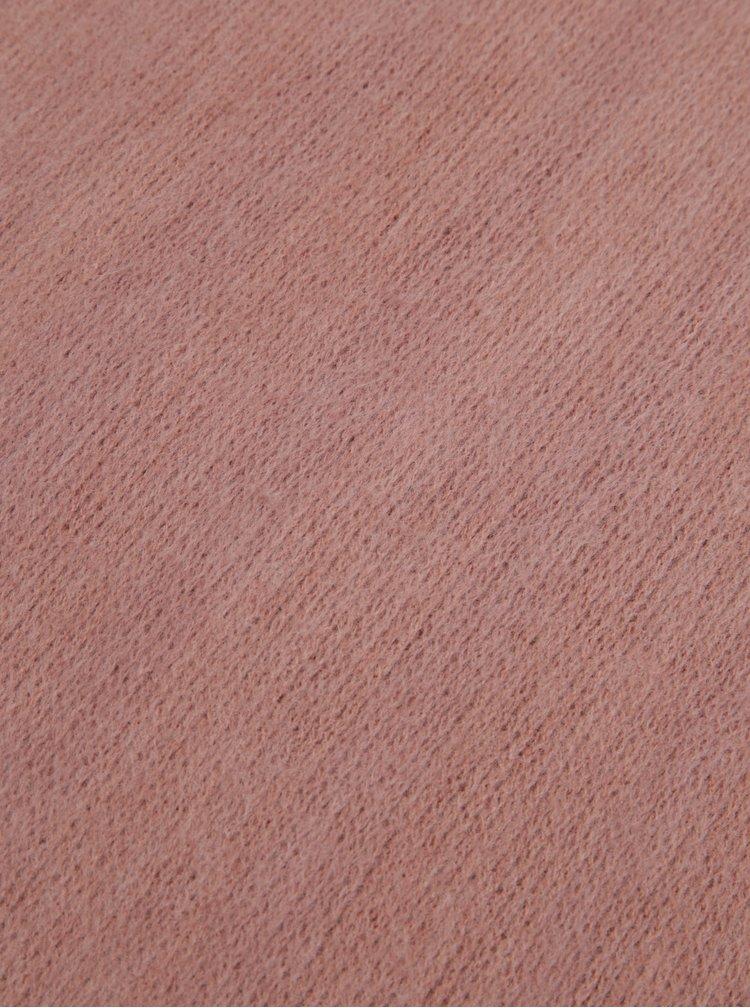 Esarfa roz pudrat cu franjuri -  Pieces Prace