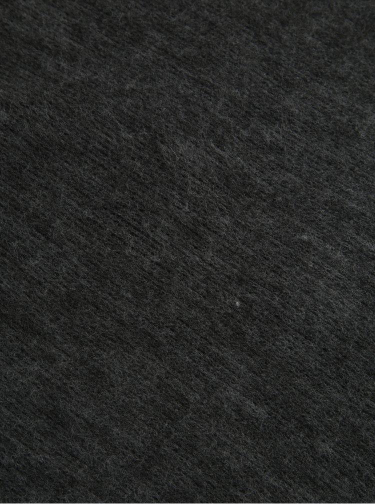 Tmavě šedá žíhaná dámská šála s třásněmi Pieces Prace