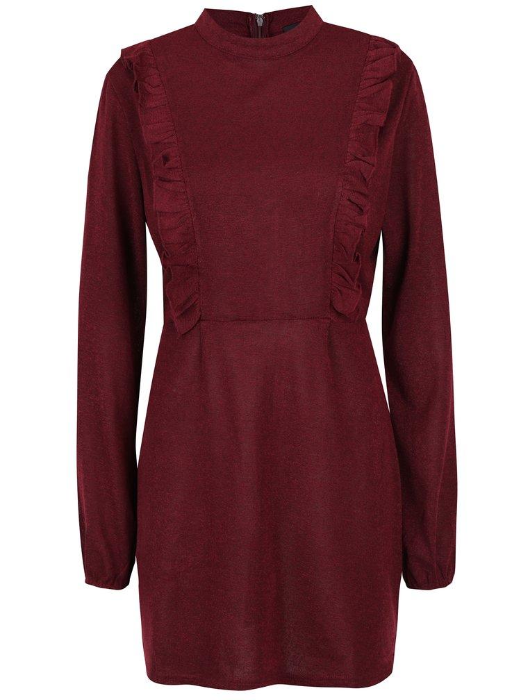 Vínové šaty s dlouhým rukávem AX Paris
