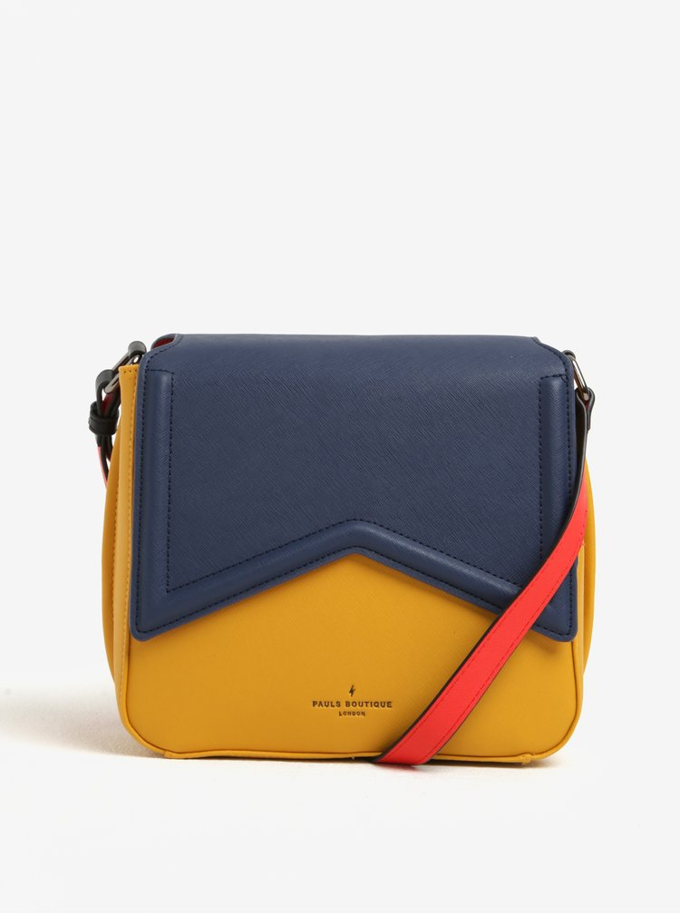 Geanta crossbody galben&bleumarin colorblock Paul's Boutique Abi