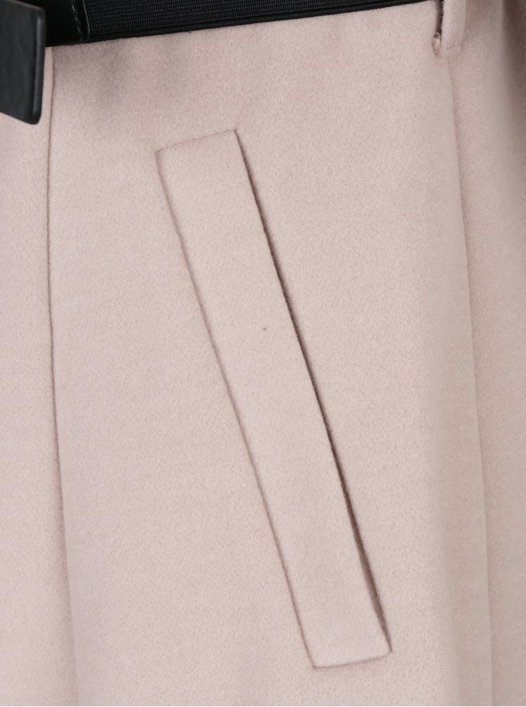 Starorůžový kabát s páskem Dorothy Perkins