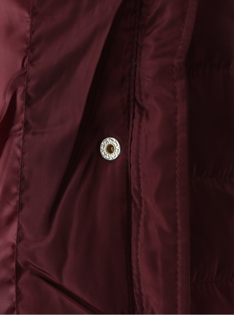 Vínová prošívaná bunda s umělým kožíškem Dorothy Perkins