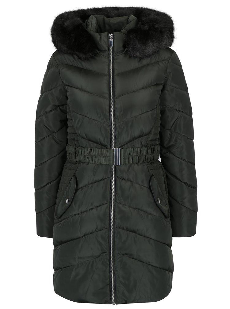 Khaki prošívaný kabát s umělým kožíškem Dorothy Perkins
