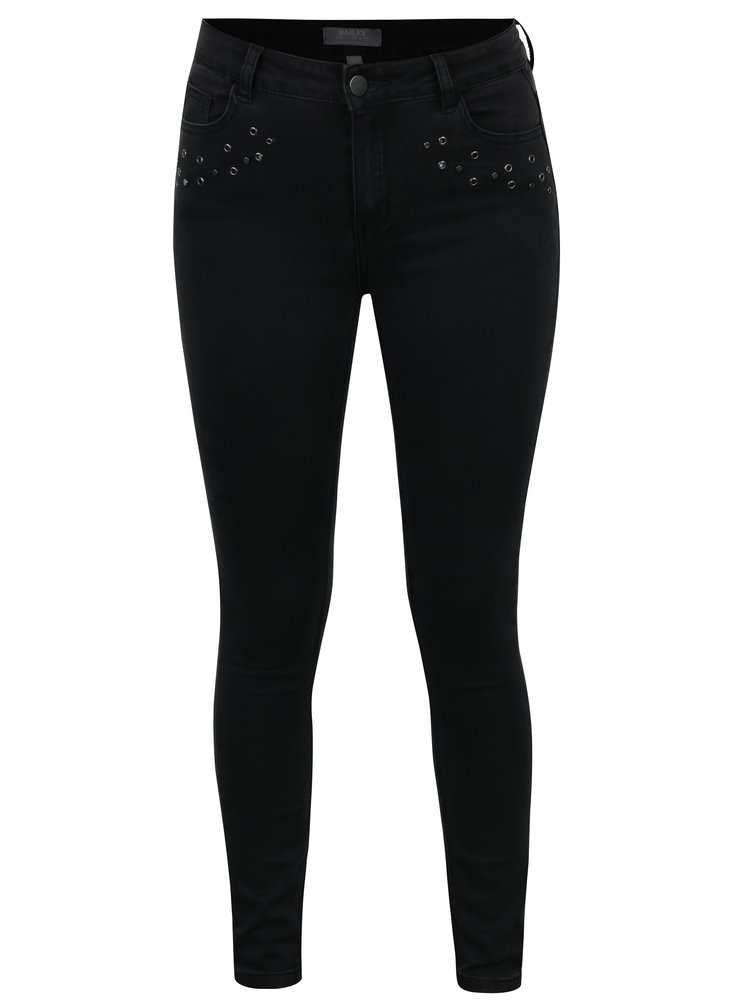 Černé skinny džíny s vysokým pasem a plastickými ozdobami Dorothy Perkins