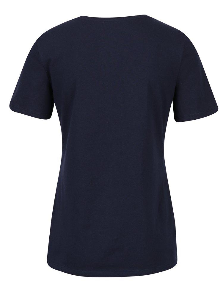 Tricou albastru inchis cu broderie text si paiete Dorothy Perkins