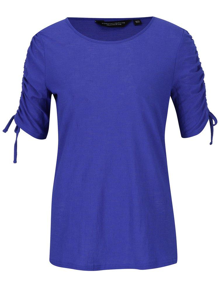 Bluza albastra cu drapaj si elastic pe maneca  Dorothy Perkins