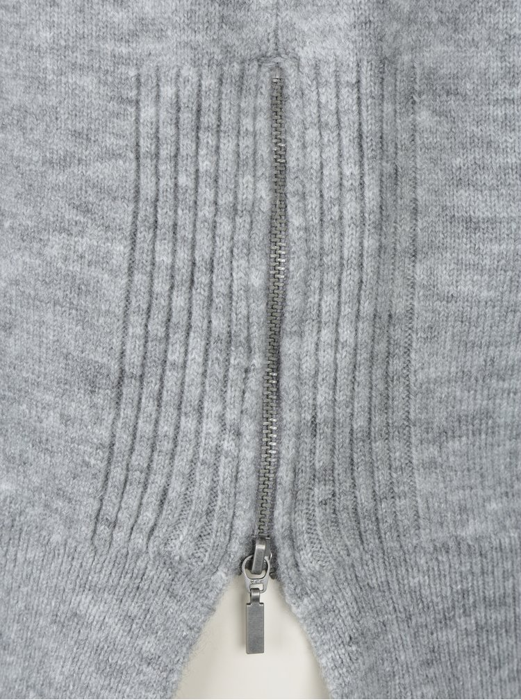 Šedý svetr s postranními zipy Dorothy Perkins