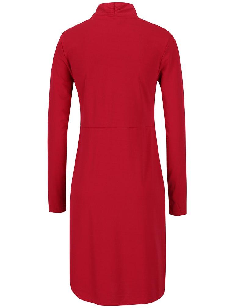 Červené kojicí šaty s překládaným výstřihem Mama.licious Wraping
