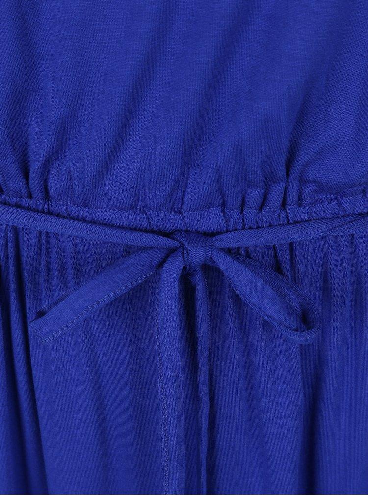 Modré maxišaty s krajkou na zadní straně Dorothy Perkins