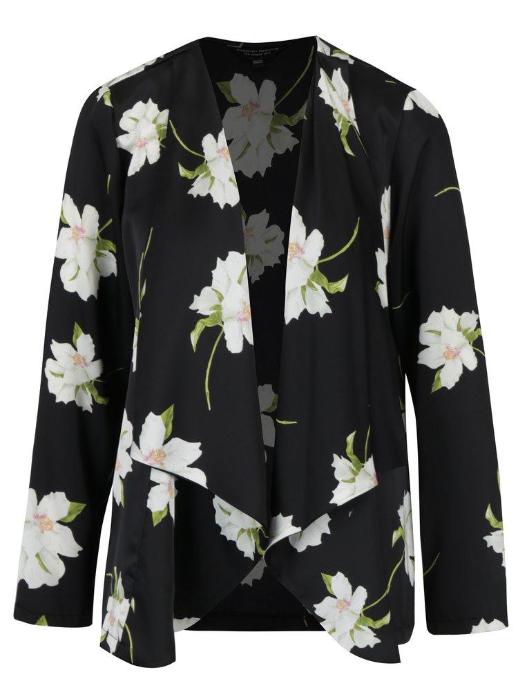 Čierne tenké kvetované sako Dorothy Perkins