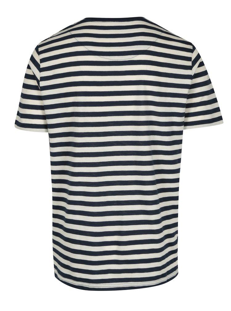 Modro-krémové pánské pruhované tričko s krátkým rukávem Makia Verkstad