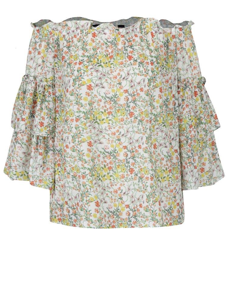 Krémová květovaná halenka s odhalenými rameny Dorothy Perkins