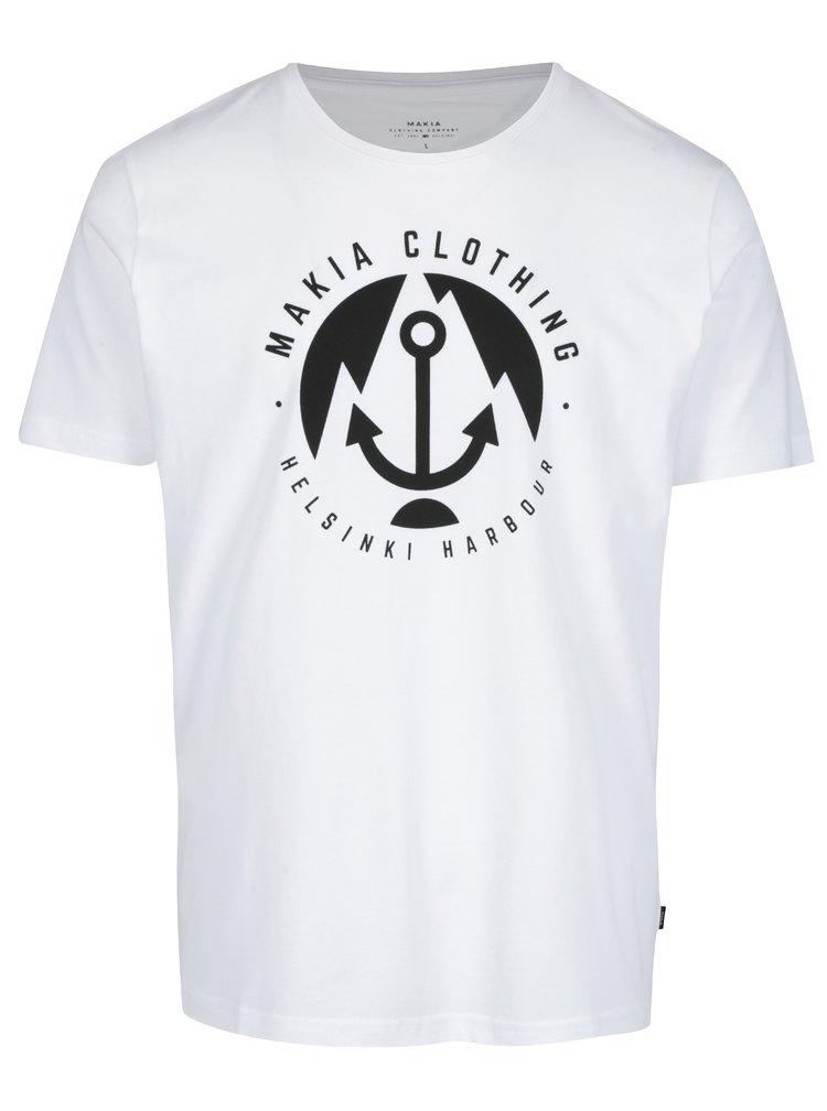 Tricou alb&negru cu logo Makia Harbour