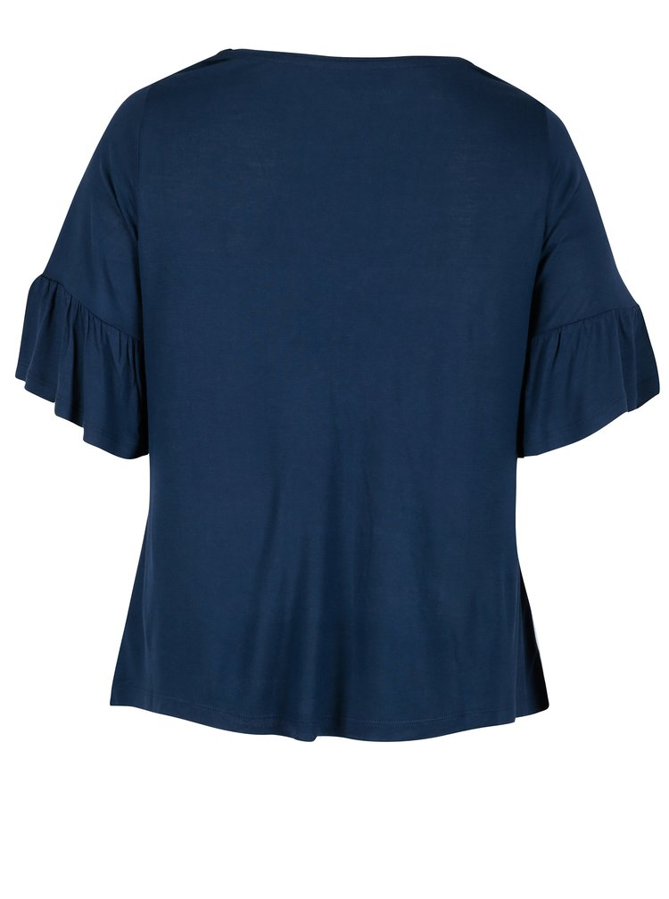 Tmavě modré tričko s výšivkami Dorothy Perkins Curve