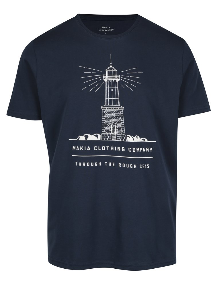 Tmavě modré pánské tričko s krátkým rukávem a potiskem Makia Lighthouse