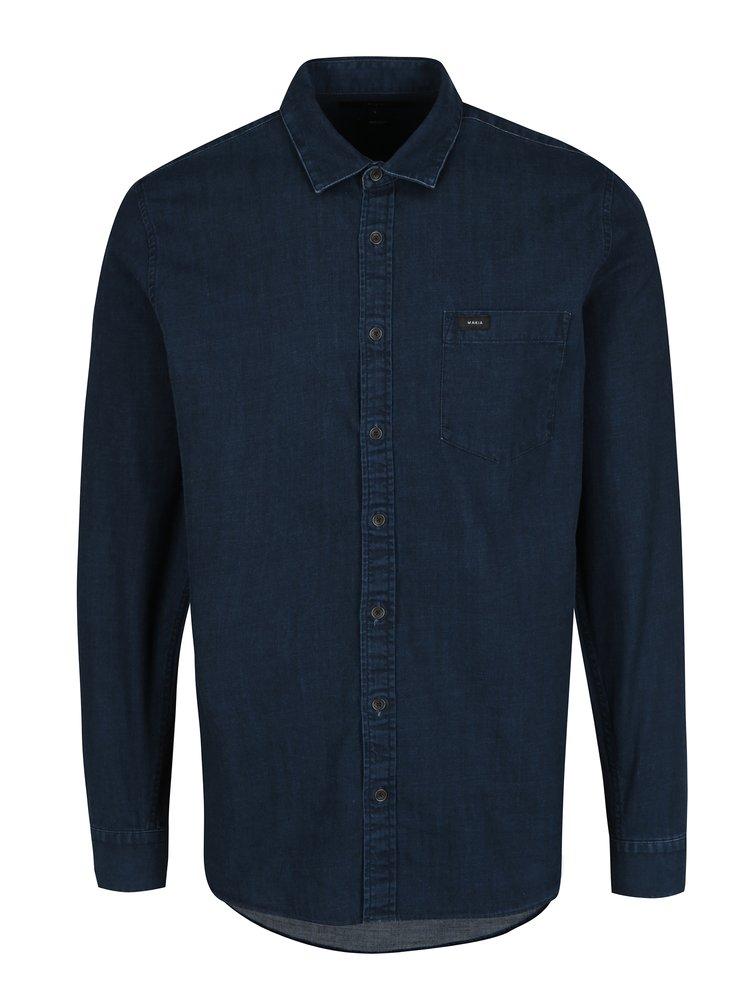 Tmavě modrá pánská džínová košile s dlouhým rukávem Makia Luoto